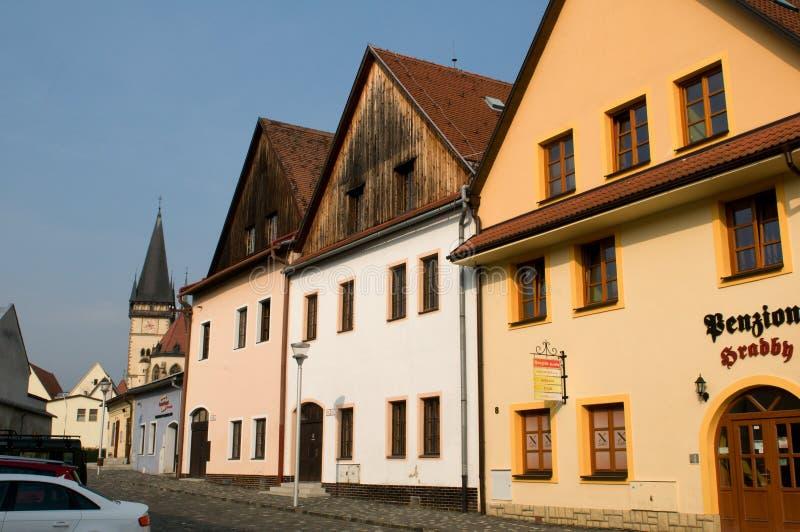 Bardejov - ciudad de la UNESCO - casas viejas foto de archivo
