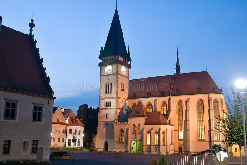 Bardejov - ciudad de la UNESCO en noche imagen de archivo libre de regalías
