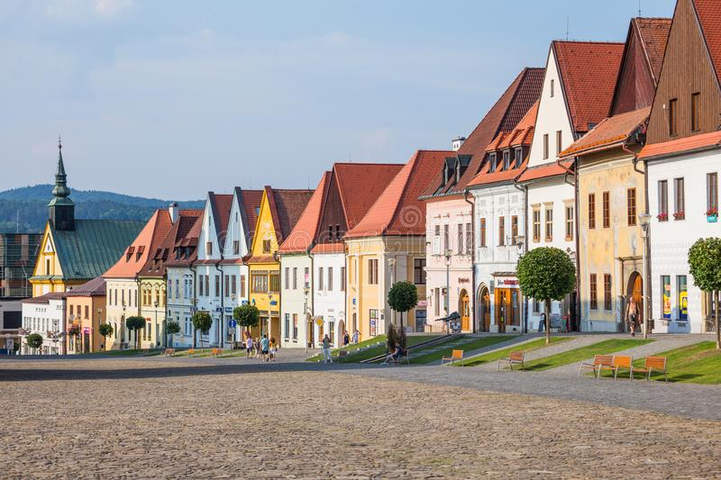 General view of houses on main square in Bardejov royalty free stock image