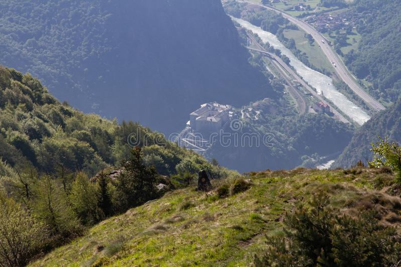 Bardo de la fortaleza de Italia el valle de Aosta foto de archivo