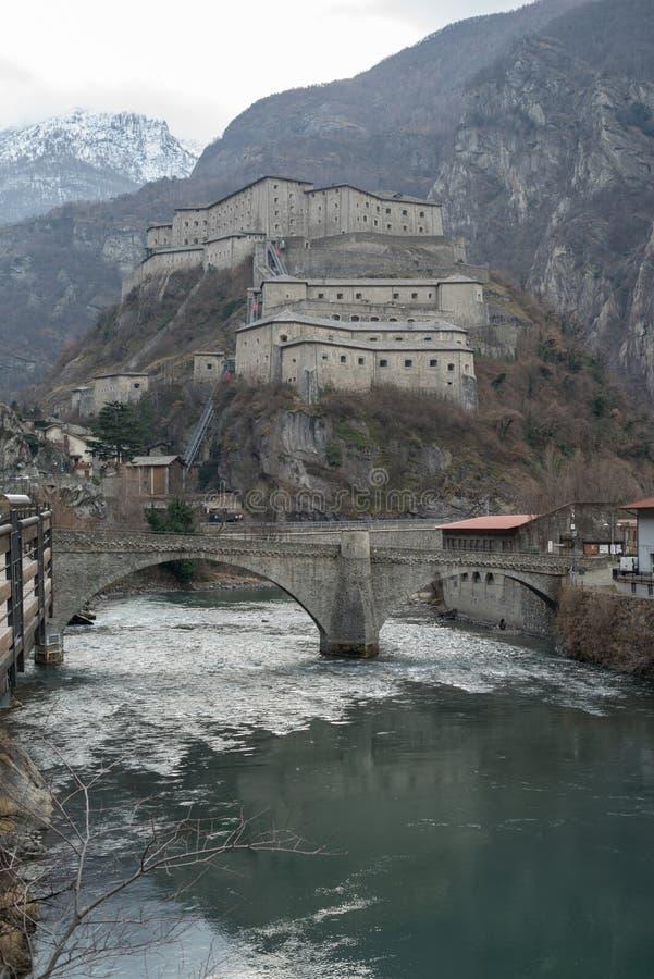 Bardo del fuerte, región del valle de Aosta, Italia fotografía de archivo libre de regalías
