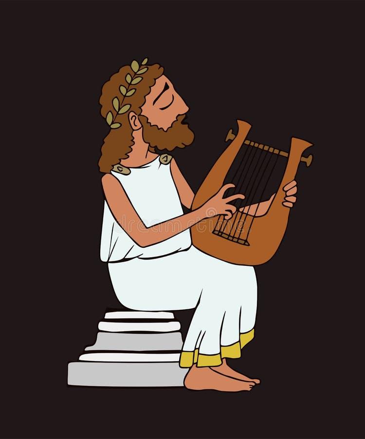 Bardo del greco antico del fumetto su fondo scuro royalty illustrazione gratis