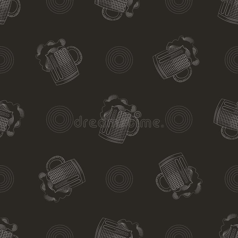 Bardruk naadloos patroon met mok bier stock illustratie