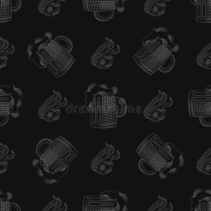 Bardruk naadloos patroon met mok van bier en Garnalen vector illustratie