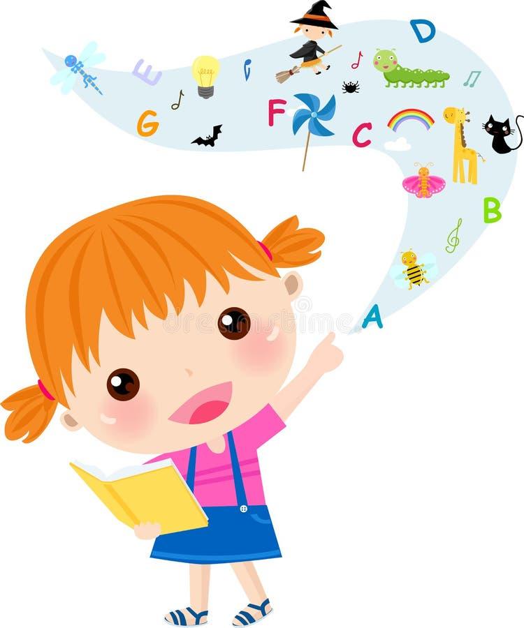 Bardzo śliczna małej dziewczynki czytania książka royalty ilustracja