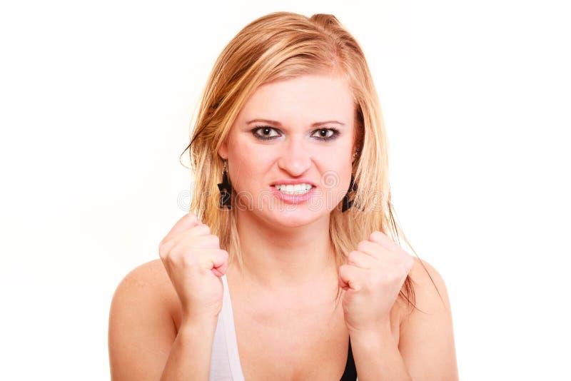 Bardzo gniewna blondynki kobieta odizolowywająca fotografia stock