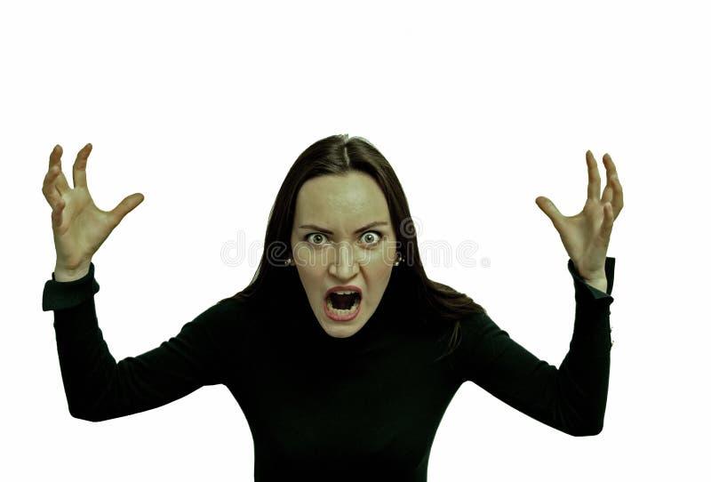 Bardzo gniewna kobieta krzyczy w horrorze, grymasu portret Negatywna ludzka emocja fotografia stock