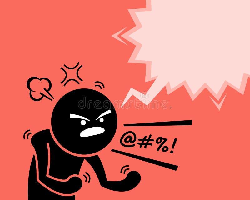 Bardzo gniewny mężczyzna wyraża jego pytać dlaczego złość, furia i niezadowolenie, ilustracji