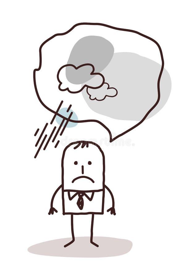 Bardzo pesymistyczny kreskówka mężczyzna ilustracja wektor