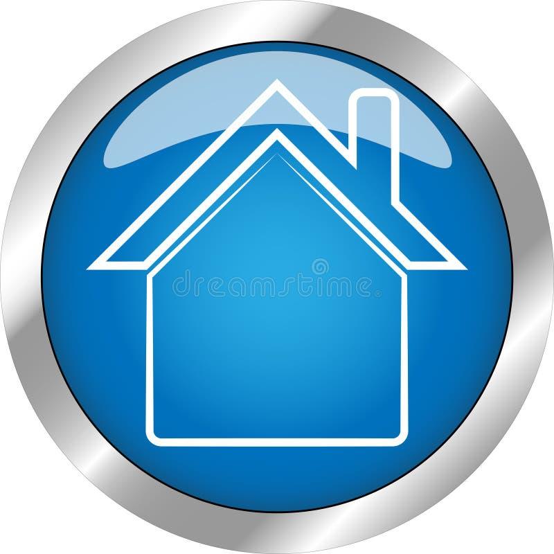Bardzo Piękny Domowy guzik z gradientowym błękitnym kolorem ilustracja wektor