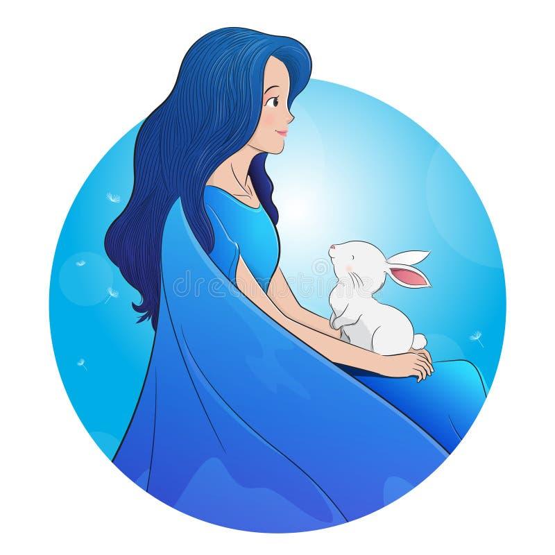 Bardzo piękna dziewczyna z Easter królikiem ilustracja wektor