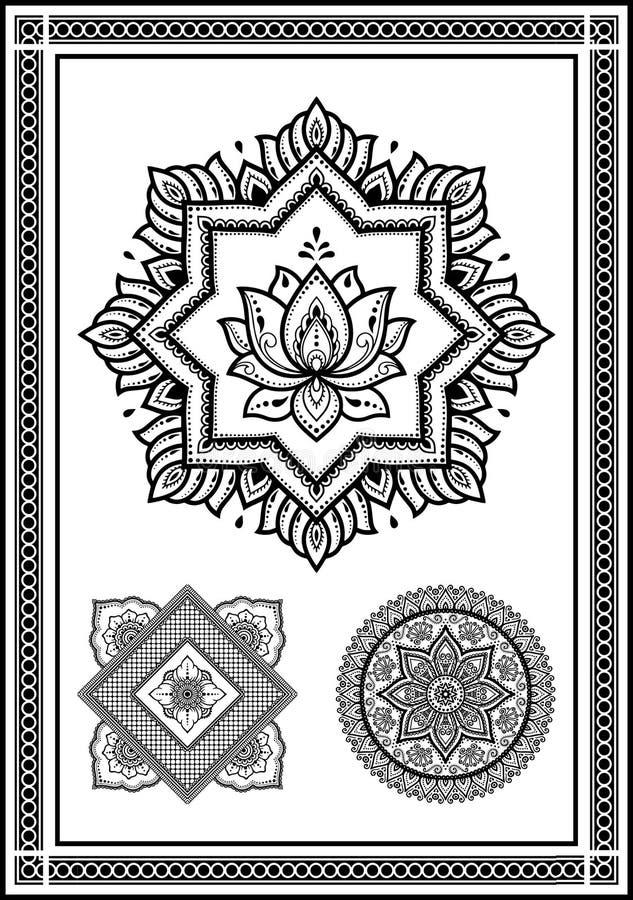 Bardzo piękna kolekcja kwiaty od kurenda wzorów w unikalnych kształtach dla henny royalty ilustracja