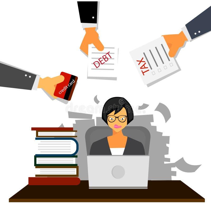 Bardzo ruchliwie biznesowa kobieta pracuje mocno na jej biurku w biurze z papierkową robotą, podatkiem, długiem i kredytową kartą ilustracja wektor