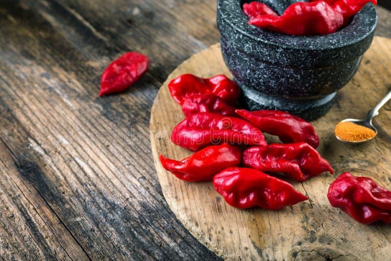 bardzo silnie gorący pieprz Bhut Jolokia obraz stock