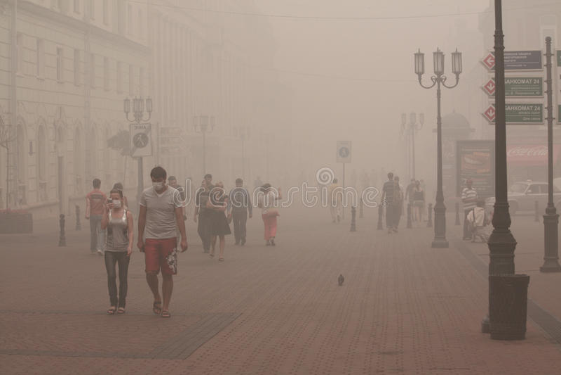 Bardzo silny smog w Nizhny Novgorod zdjęcie royalty free