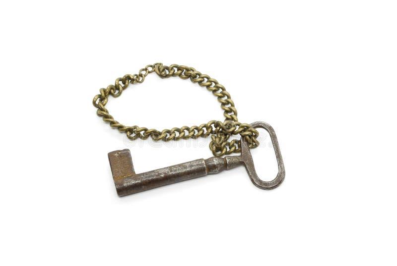 Bardzo starego rocznika żelaza ośniedziały klucz na łańcuchu zdjęcia stock