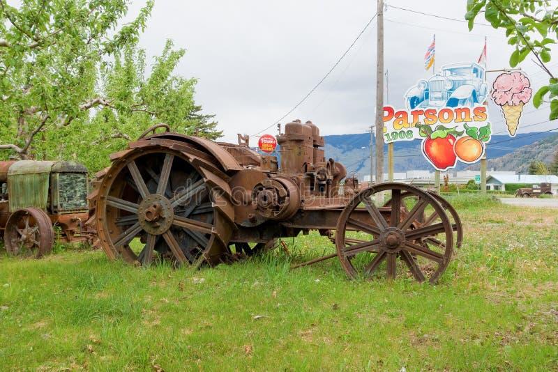 Bardzo stary ciągnik w kolumbiach brytyjska fotografia royalty free