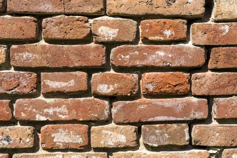 Bardzo Stary czerwony ściana z cegieł tekstury tło, zamyka up fotografia royalty free