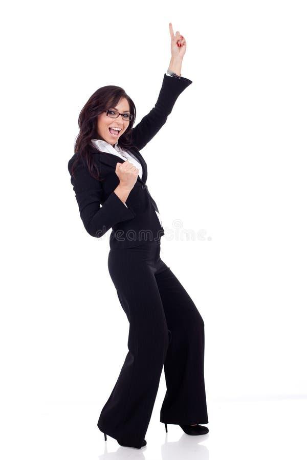 Bardzo szczęśliwy biznesowej kobiety wygranie obrazy royalty free