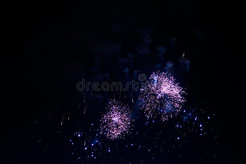 Bardzo tani fajerwerk nad miastem, purpura obraz royalty free