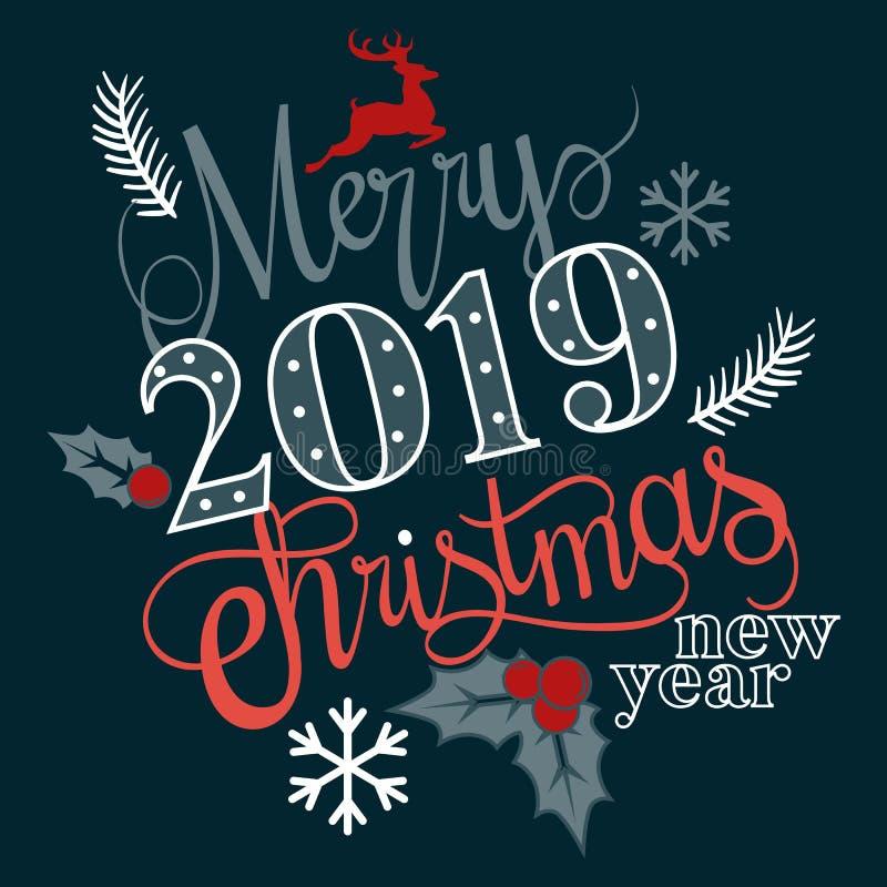 Bardzo Wesoło boże narodzenia i Szczęśliwy nowy rok 2019 życzymy wam literowanie teksta logo na czarnym tle ilustracja wektor