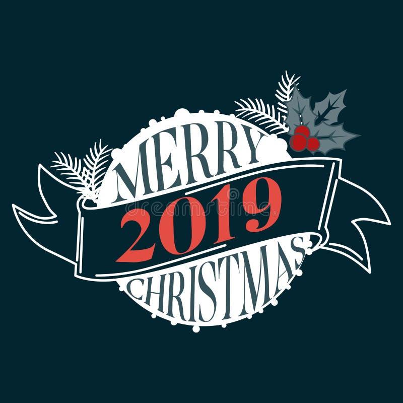 Bardzo Wesoło boże narodzenia i Szczęśliwy nowy rok 2019 życzymy wam literowanie teksta logo na czarnym tle royalty ilustracja