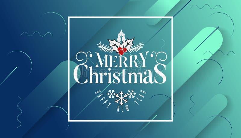 Bardzo Wesoło boże narodzenia projekta szablon z i Szczęśliwego nowego roku, życzymy wam literowanie logo na gradientowym tle royalty ilustracja