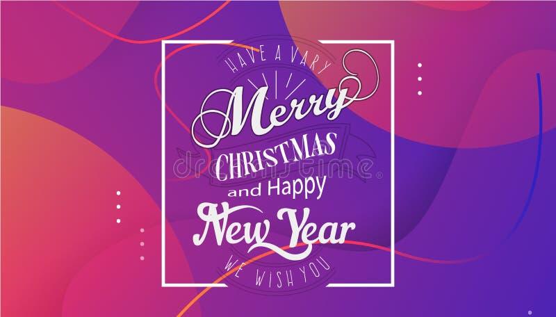 Bardzo Wesoło boże narodzenia projekta szablon z i Szczęśliwego nowego roku, życzymy wam literowanie logo na gradientowym tle ilustracja wektor