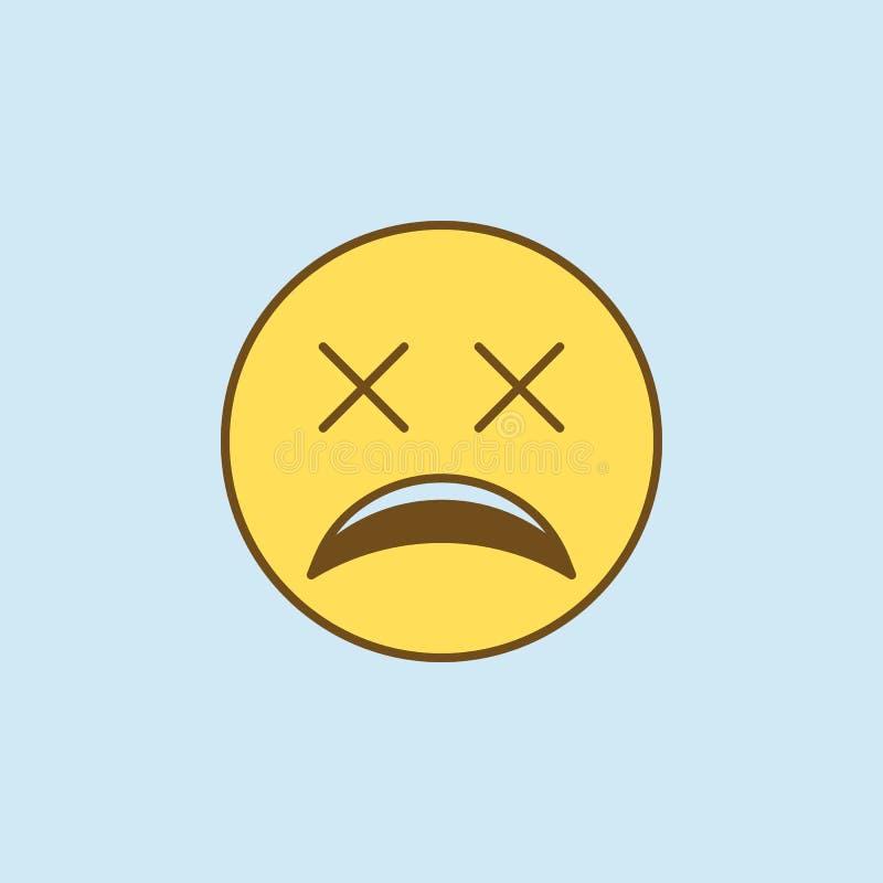 bardzo zmęczeni 2 barwiąca kreskowa ikona Prosta koloru żółtego i brązu elementu ilustracja bardzo zmęczony pojęcie konturu symbo royalty ilustracja