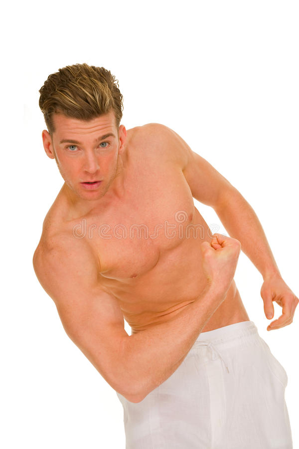 Download Bare-chested Man Showing Muscles Stock Photo - Image of shirtless, caucasian: 25546116