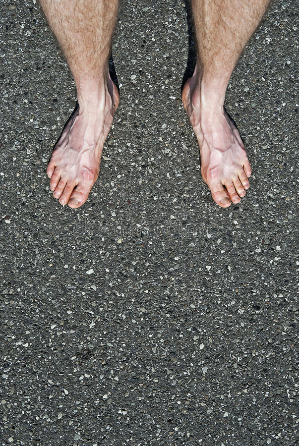 Bare Feet On Cement Royalty Free Stock Photos