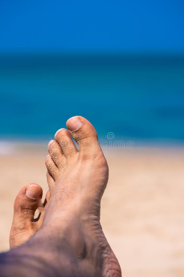 Bare Foot On Sea Beach royalty free stock images