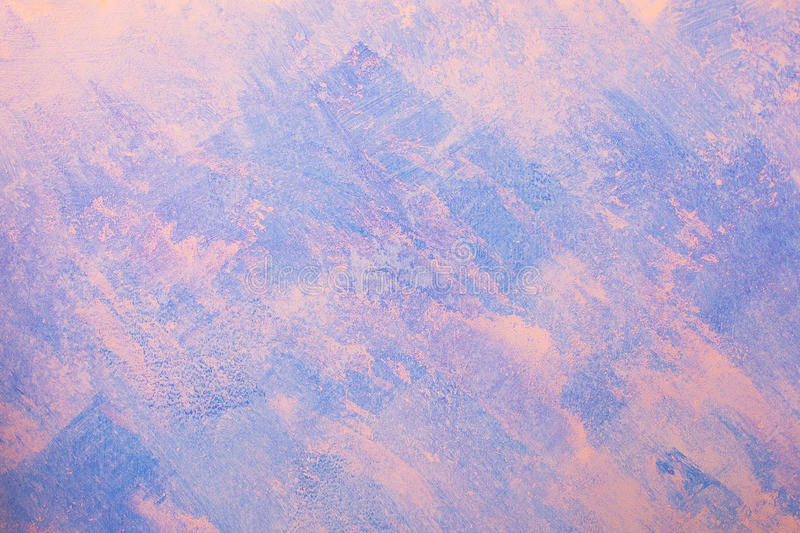Bare plaster wall background,blue and pink wallpaper stock photos