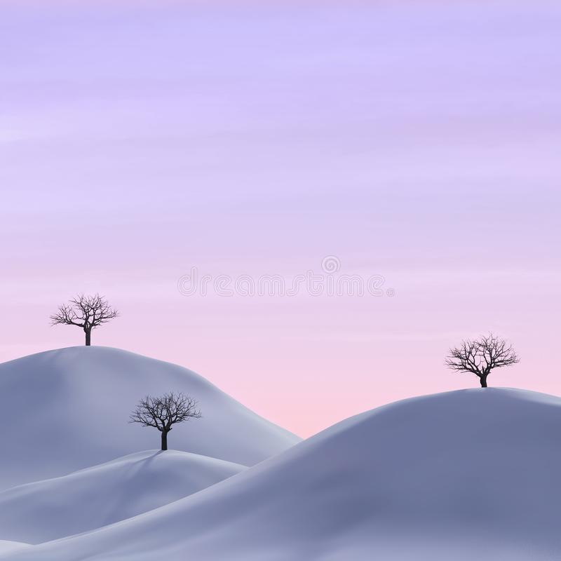 Bare trees in a winter landscape royalty free illustration