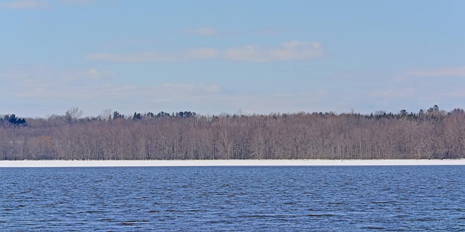 Bare winter forest and snow on the embankment of Ottawa river stock image