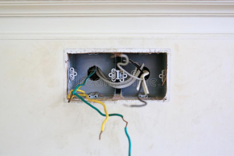 Bare wire at house wall. Unsafe and dangerous.  royalty free stock photos