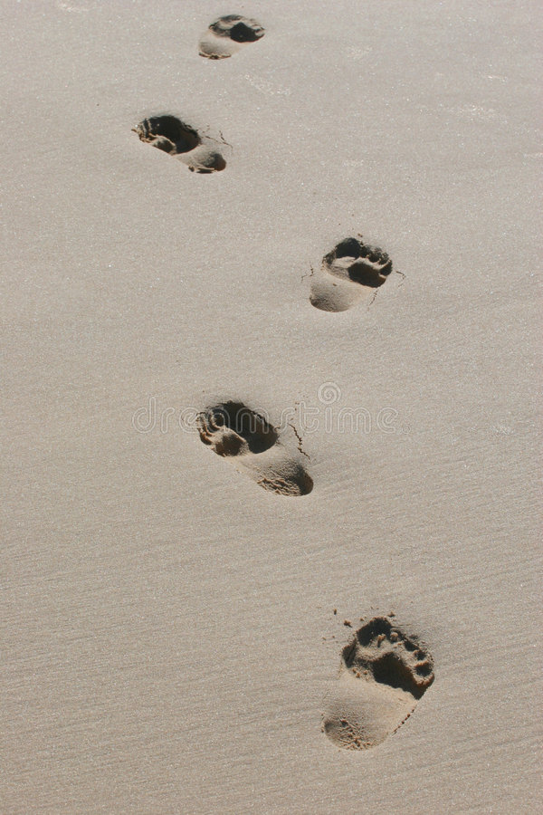 Download Barefeet Footprints In Wet Sand Royalty Free Stock Images - Image: 947769