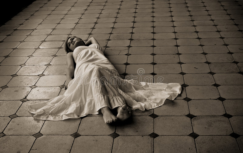 Barefeet Woman Laying On The Floor Royalty Free Stock Photos
