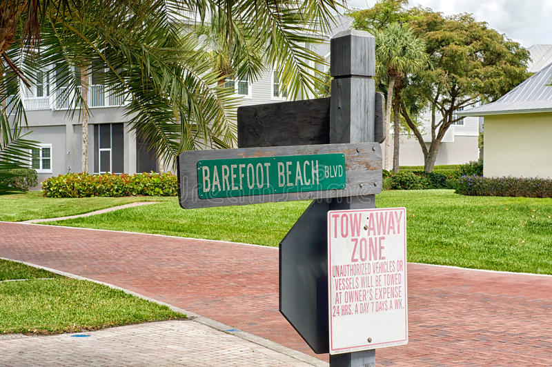 Barefoot Beach Blvd street sign royalty free stock photography