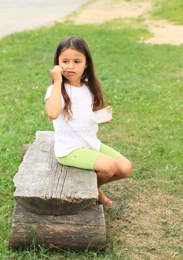Barefoot Girl Eating Stock Photography Image 33487732