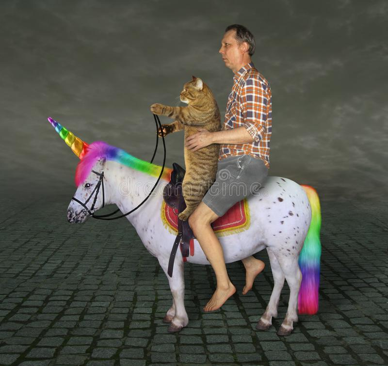 Man and his cat on the unicorn royalty free stock photography