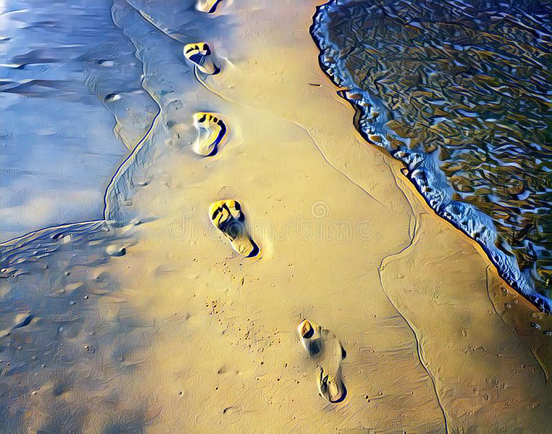 Barefoot marks on beach sand digital illustration. Blue yellow beach view with smooth sea wave. Relaxing day on beach. Tropical seaside. Exotic island stock photography