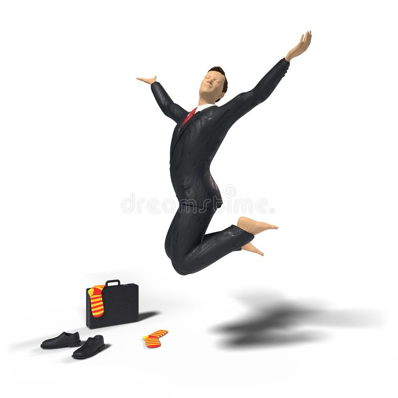 Barefoot toy miniature businessman figurine is jumping for joy and happiness, with colourful socks, shoes and briefcase, concept stock illustration
