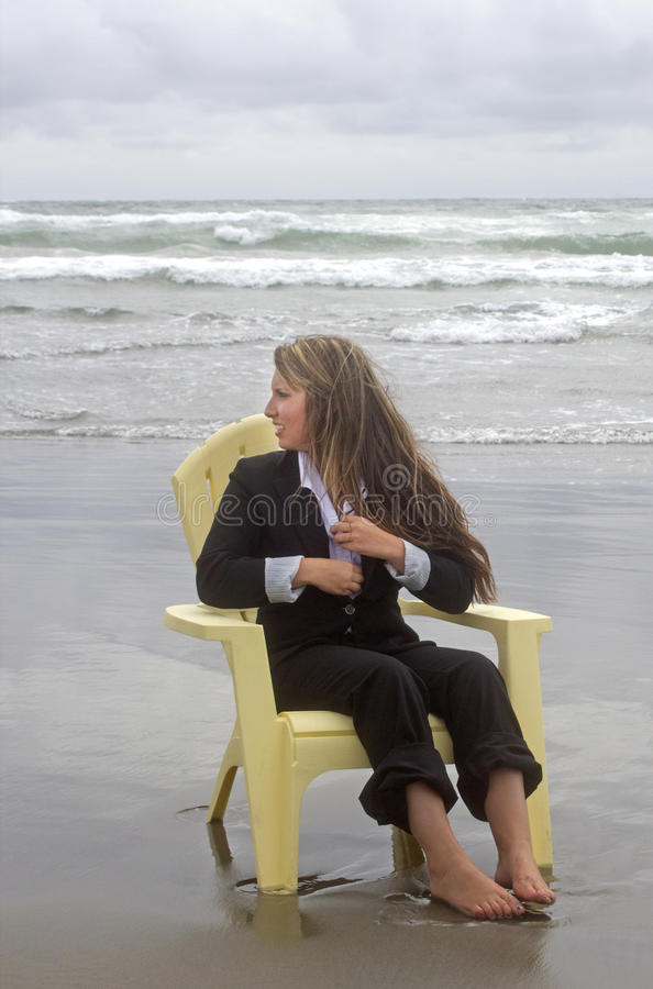 Free Barefoot Woman In Chair Looking Out To Sea Royalty Free Stock Photos - 31995458
