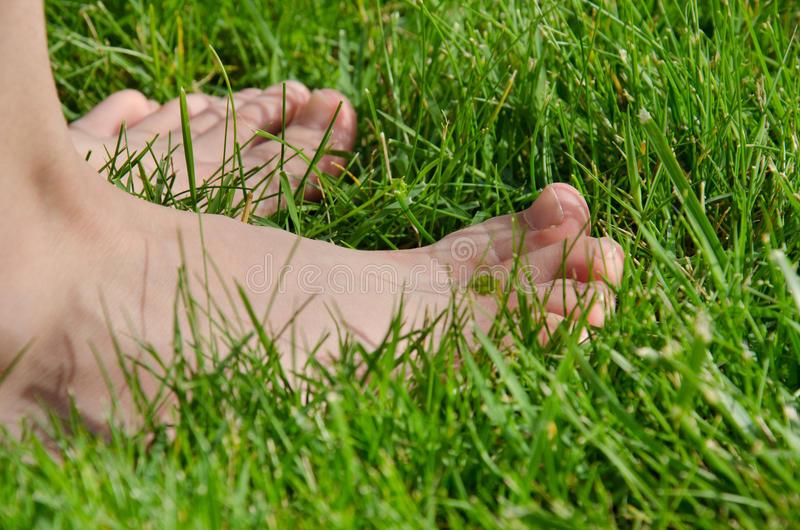 Barefooted на траве стоковые изображения rf