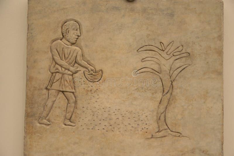 Barelief rolnik w skąpaniach Diocletian w Rzym zdjęcia stock