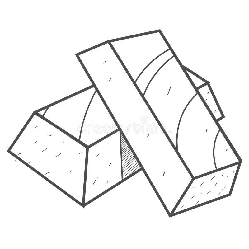 Baren van gouden zwart-witte illustratie voor een kleurend boek Edel metalen stock illustratie