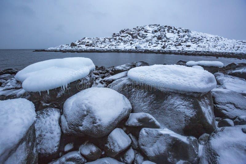 Barents Denny brzeg Kola p??wysepu zimy krajobraz fotografia royalty free