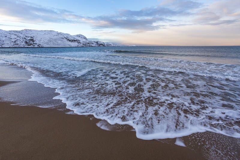 Barents morza zimy krajobraz Kola Półwysep obraz stock
