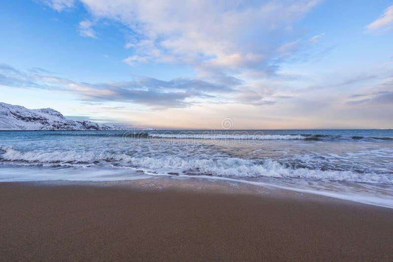 Barents morza zimy krajobraz Kola Półwysep obraz royalty free
